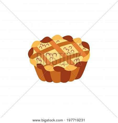 Vector thanksgiving pie flat illustration isolated on a white background. Cartoon apple, pumpkin cake. Sign of thanksgiving, autumn, harvest. Vegetarian food, healthy eating.