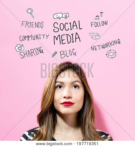 Social Media text with young woman on a pink background