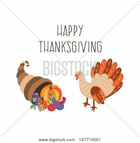 Vector set of thanksgiving turkey and horn of plenty. Flat illustration isolated on a white background. Cartoon cornucopia with vegetables and bird. Sign of thanksgiving autumn harvest. Healthy eating