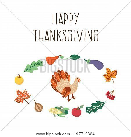 Vector thanksgiving set. Autumn, harvest and thanksgiving symbols - thanksgiving turkey in the template of vegetables and leaves. Flat illustration isolated on a white background.