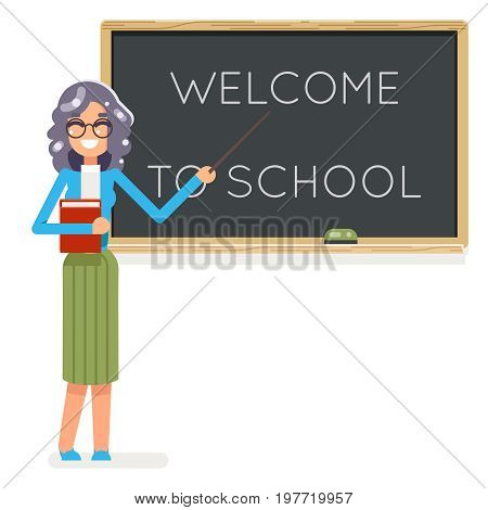 Teacher book female study student pupil class education lesson character icon classroom school board background vector illustration