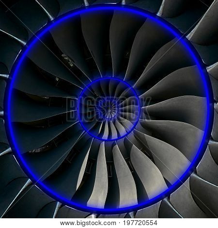 Turbine blades wings Blue neon effect abstract fractal pattern background. Circle round turbine blades production metallic background. Turbine industrial technology abstract door hatch fractal pattern
