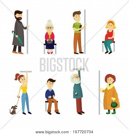 Set of people sitting and standing in subway train, cartoon vector illustration isolated on white background. Full length portrait of people, men and women, sitting and standing in subway, underground