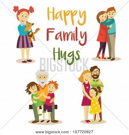 Family members - parents hugging daughter, grandfather with grandchildren, little girl holding cat pet, loving couple, cartoon vector illustration on white background. Happy family members hugging
