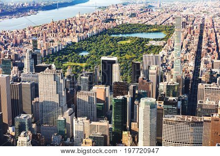 Aerial view of Midtown Manhattan, NY and Central Park