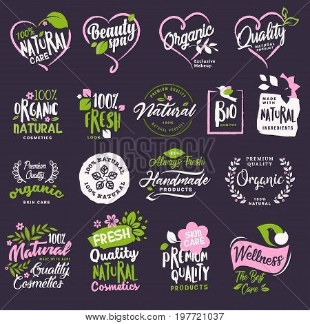 Cosmetics and beauty badges and stickers set. Vector illustrations for natural cosmetics, healthcare, organic products, spa, wellness, beauty and healthy life, body and skin care and makeup.