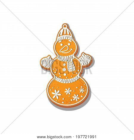 Gingerbread Snowman cookie vector isolated illustration on a white background. New year 2018 baked candy. Cartoon sweet cake in the form of snowman. Traditional winter holiday home treat