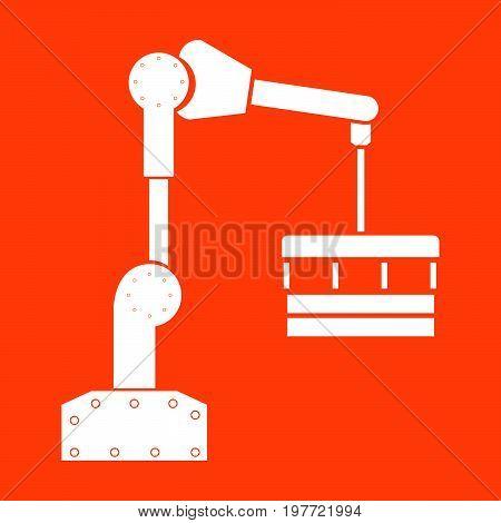 Robotic Hand Manipulator White Icon .