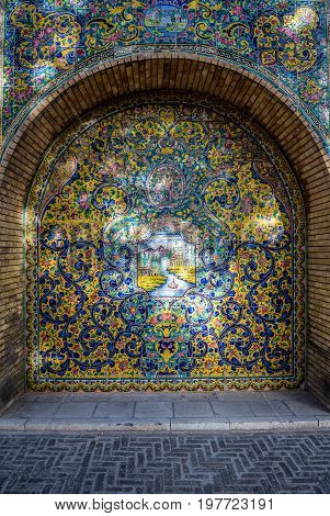 Tiled wall in Golestan Palace in Tehran capital of Iran