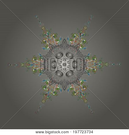 Flat design. Snowflake icon isolated. Vector nice snowflakes on colorful background. Vector illustration.