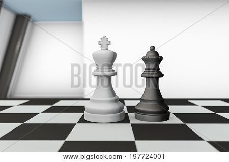 A checkerboard with black and white figures in a team (3d rendering)