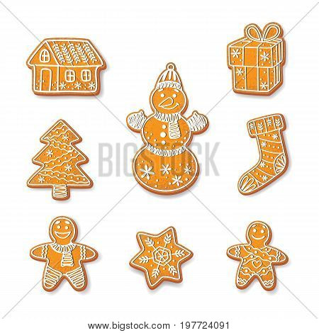 Gingerbread cookies set vector isolated illustration on a white background. New year baked cartoon sweet cake gingerbread man, snowman spruce tree, house snowflake stocking gift packaging
