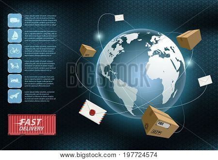 Cargo delivery. Free and fast freight transportation around the world. Infographics of the business shipping industry. Stock vector illustration.