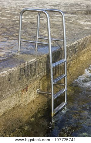 Metal Stairs To Sea Water