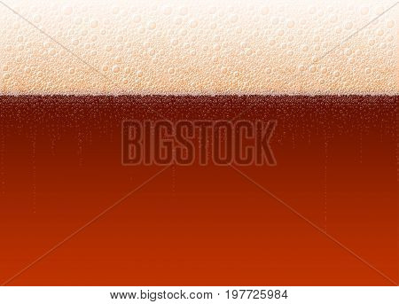 Vector background of beer with a foam and bubbles. The variety Dark Stout Porter. High detailed realistic illustration on a brewing theme for Oktoberfest beer festival. No Mesh