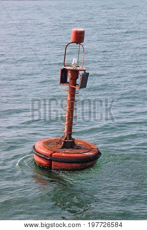 Red Navigation Buoy With Solar Panels