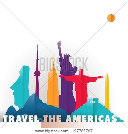 Travel the Americas concept illustration in paper cut style famous world landmarks of South and North America countries. Includes liberty statue Mexico pyramid Toronto tower. EPS10 vector.