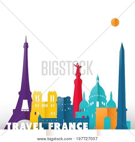 Travel France Paper Cut World Monuments