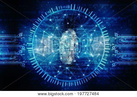 Fingerprint Scanning Technology Concept, Security system concept with fingerprint. 2d Illustration