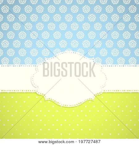 Frame on the background with two leaves seamless pattern. Vector illustration.