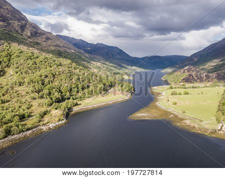 Aerial view of Loch Leven towards Caolasnacon and KInlochleven, Lochaber, Scotland