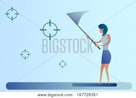 Abstract Business Woman Catch Targets With Butterfly Net Aim Goal Concept Vector Illustration