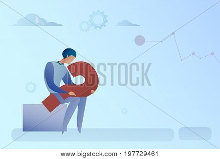 Business Man With Question Mark Pondering Problem Concept Flat Vector Illustration