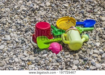 Toys For Childrens On The Sea Beach