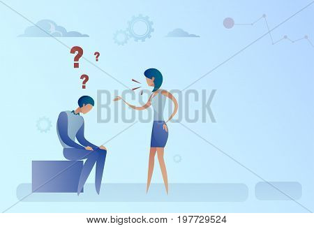 Business Man And Woman With Question Mark Pondering Problem Concept Flat Vector Illustration