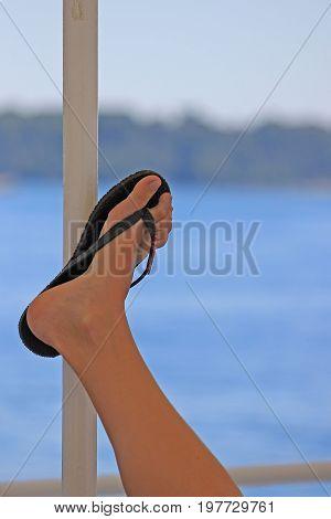 Woman Leg With Beach Flip Flops 2