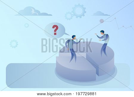 Two Business Men On Pie Diagram Getting Inequality Shares, Businessmen Competition Success Concept Flat Vector Illustration