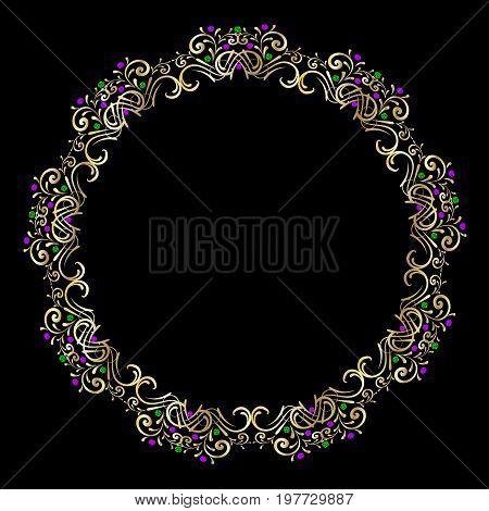 Golden frame gem vector crystal, rococo, victorian, jewelery