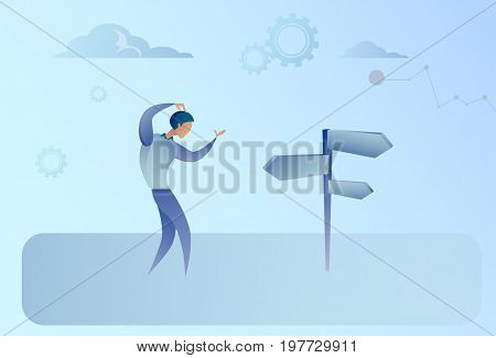 Business Man On Crossroad Look At Sign Board Choosing Direction Concept Flat Vector Illustration