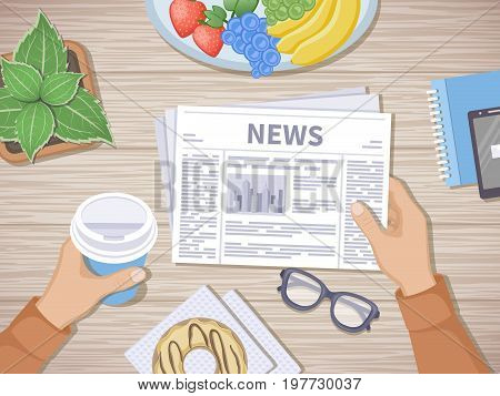Man reading the latest news at breakfast. Human hands holding coffee to go and newspaper, phone, fruit, donut, glasses, pot. Good start in the morning before beginning the working day. Top view Vector