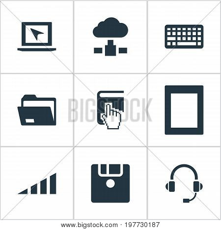 Elements Palmtop, Cursor, Floppy Disk And Other Synonyms Keyboard, Headphone And Disk.  Vector Illustration Set Of Simple Computer Icons.