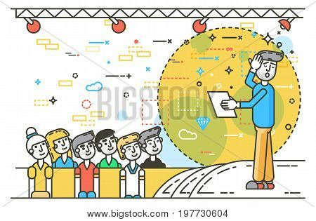 Vector illustration orator spokesman spokesperson speaker fear of public speaking businessman rhetor politician speech stage audience business presentation political line art style on white background