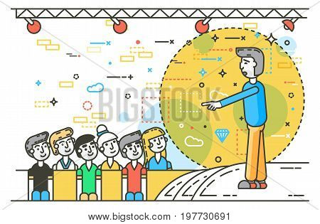 Vector illustration orator spokesman spokesperson speaker pointing gesture businessman rhetor politician speech speaking stage audience business presentation line art style side view white background