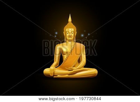 thai art buddha statue and pattern hi detail vector illustration