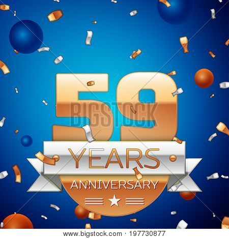 Realistic Fifty nine Years Anniversary Celebration Design. Golden numbers and silver ribbon, confetti on blue background. Colorful Vector template elements for your birthday party