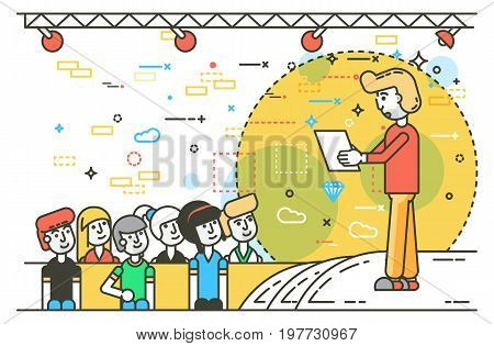 Vector illustration orator spokesman spokesperson speaker public appearance with paper businessman politician speech speaking stage audience business presentation line art style on white background