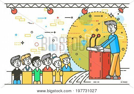 Vector illustration orator spokesman spokesperson speaker public appearance at tribune rostrum podium businessman politician speech stage audience business presentation line art style white background