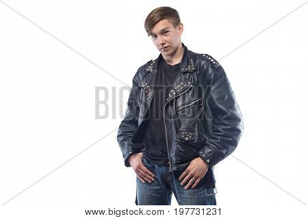 Portrait of difficult teenager on white background