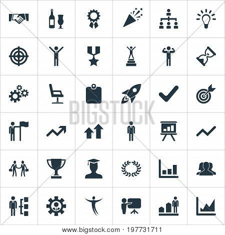 Elements Success, Launch, Correct Sign And Other Synonyms Stand, Human And Trophy.  Vector Illustration Set Of Simple Trophy Icons.