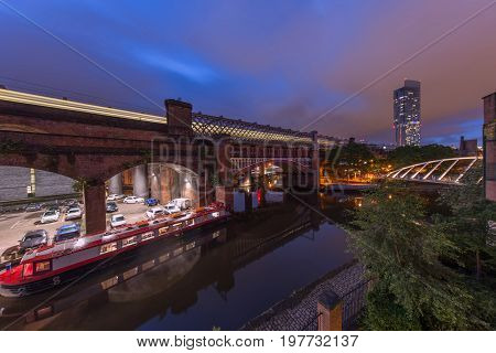 Evening view of the famous Castlefield Basin in Manchester where the industrial revolution began.