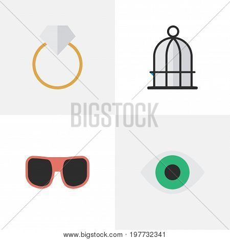 Elements Engagement, View, Birdcage And Other Synonyms Glasses, View And Vision.  Vector Illustration Set Of Simple Instrument Icons.