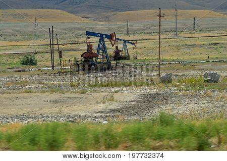 Old oil rig. gas oil, petrol station, fuel station