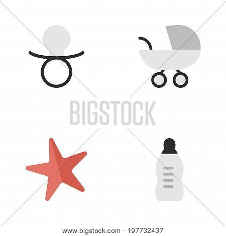 Elements Toy, Nipple, Stroller And Other Synonyms Starfish, Pacifier And Baby.  Vector Illustration Set Of Simple Kid Icons.