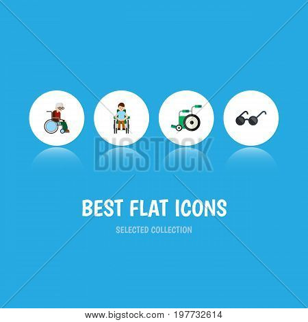 Flat Icon Cripple Set Of Equipment, Disabled Person, Spectacles And Other Vector Objects
