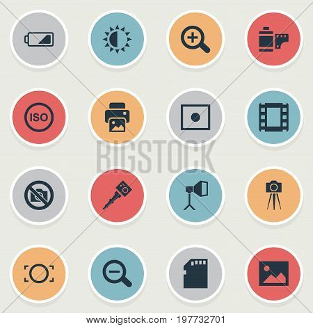 Elements Memory Card, Brilliance, Flame Instrument And Other Synonyms Card, Removable And Noise.  Vector Illustration Set Of Simple Photographic Icons.