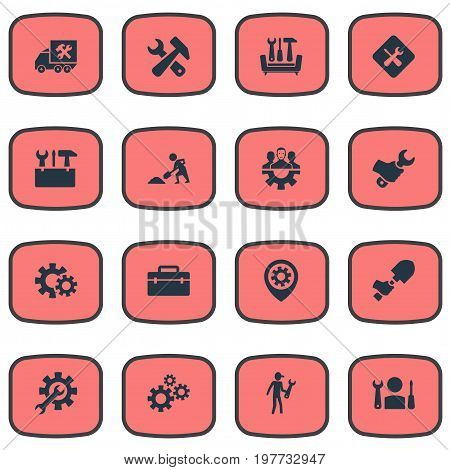 Elements Fixing, Pin, Workman And Other Synonyms Workman, Builder And Hammer.  Vector Illustration Set Of Simple Mending Icons.